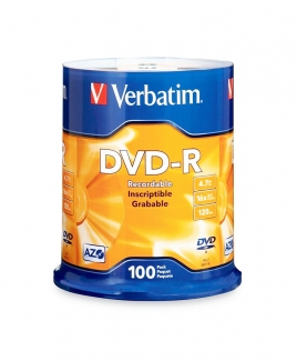 Verbatim DVD-R (4.7GB) 16x (100pcs in Spindle) [Cake Box]
